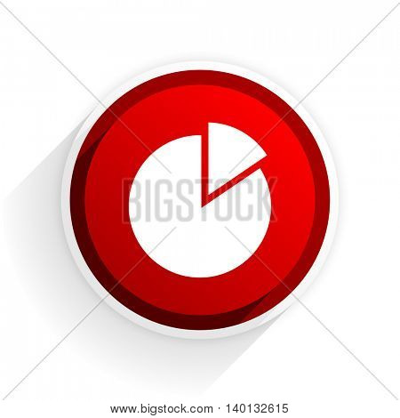 chart flat icon with shadow on white background, red modern design web element