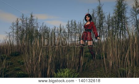 3d illustration of a young asian woman warrior outdoor