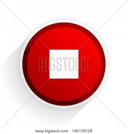 stop flat icon with shadow on white background, red modern design web element