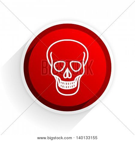 skull flat icon with shadow on white background, red modern design web element