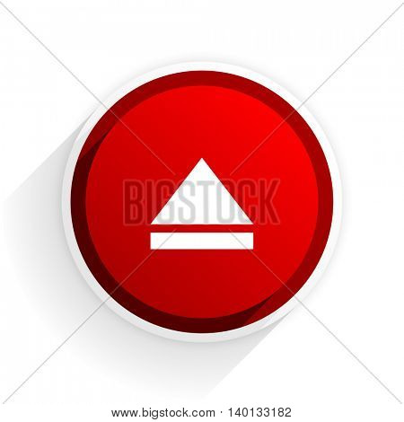 eject flat icon with shadow on white background, red modern design web element