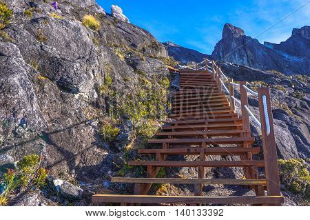 Wooden stairs up to summit of mountain Kinabalu.The new Mount Kinabalu Summit Trail was officially opened to climbers from all over the world on 1st December 2015.