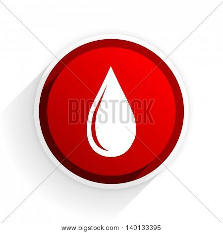 water drop flat icon with shadow on white background, red modern design web element