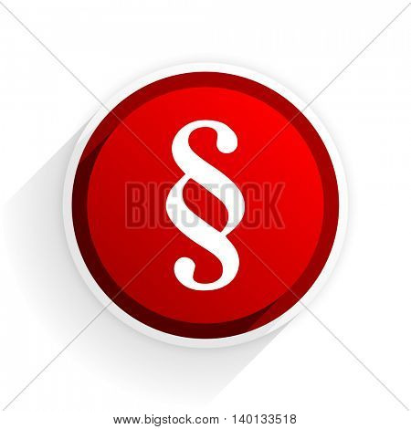 paragraph flat icon with shadow on white background, red modern design web element