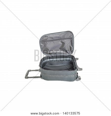 Closeup open black luggage isolated on white background , fabric luggage with plastic roller for travel with clipping path