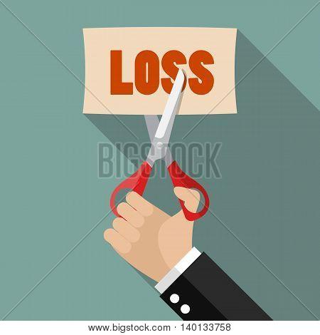Businessman cut loss. Business concept vector illustration