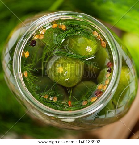 Homemade Dill Pickled Green Cucumbers. Selective focus.