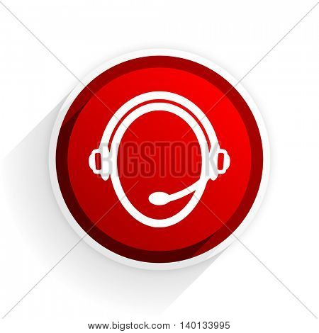 customer service flat icon with shadow on white background, red modern design web element