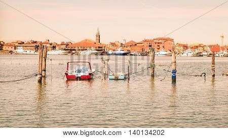 The fishing village of Chioggia lagoon of Venice Italy.