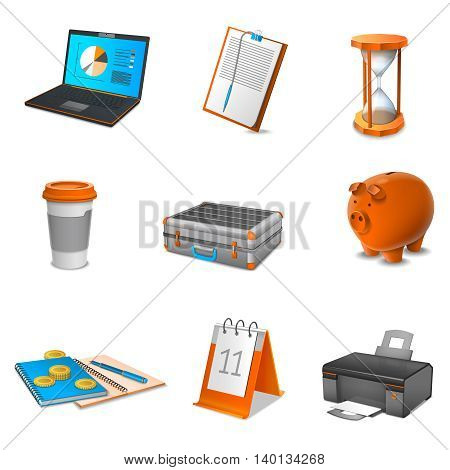 Business realistic icons set with calendar laptop and coffee isolated vector illustration