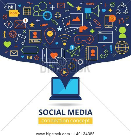 Social media design concept with laptop and abstract line icons set of smartphones email elements of computer network flat vector illustration