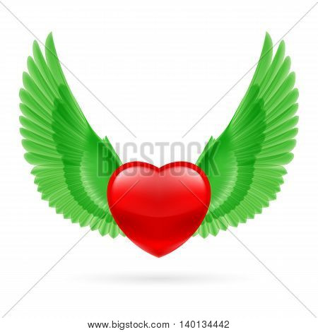 Red heart with raised bright green wings.
