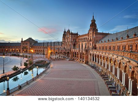 Seville, Spain. Plaza de Espana (Spain Square) after sunset