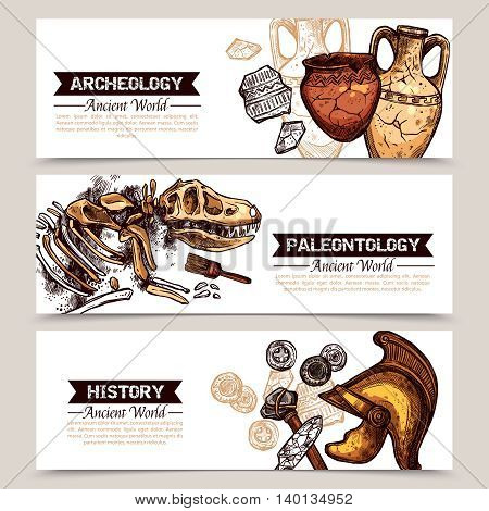 Archeology horizontal  banners with sketch colored images of ancient weapons crockery and animal skeleton and description archeology paleontology and history vector illustration
