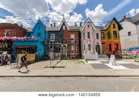 Kensington Avenue and Kensigton market in Toronto Canada.