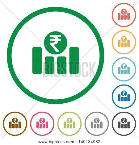 Set of Indian Rupee graph color round outlined flat icons on white background