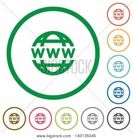 Set of WWW globe color round outlined flat icons on white background