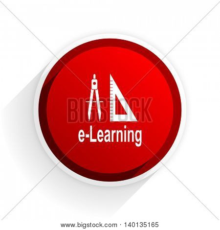 e-learning flat icon with shadow on white background, red modern design web element