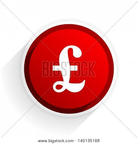 pound flat icon with shadow on white background, red modern design web element