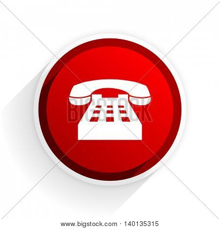 phone flat icon with shadow on white background, red modern design web element