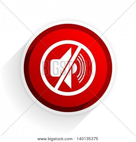 mute flat icon with shadow on white background, red modern design web element