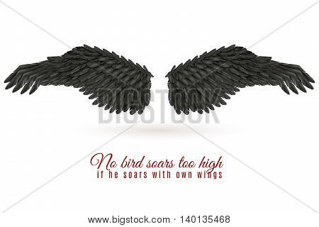 Pair of big dark bird wings on white background with shadow and quotation realistic vector illustration