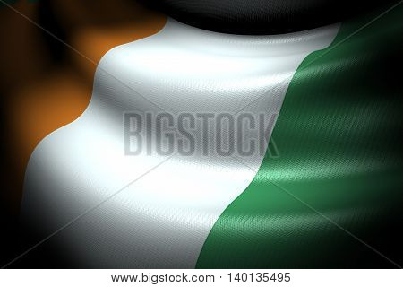 3D illustration of Flag of Ivory coast in the dark with brightness spot