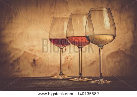 Selection of wine for tasting, copy space , toned