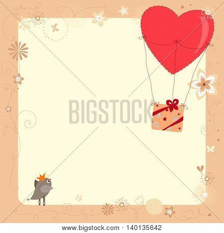Baby shower invitation template. Bird, balloon and gift box.
