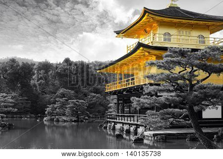 Famous Kinkaku-ji Golden Pavilion temple of Kyoto, Japan in black and white with selective color