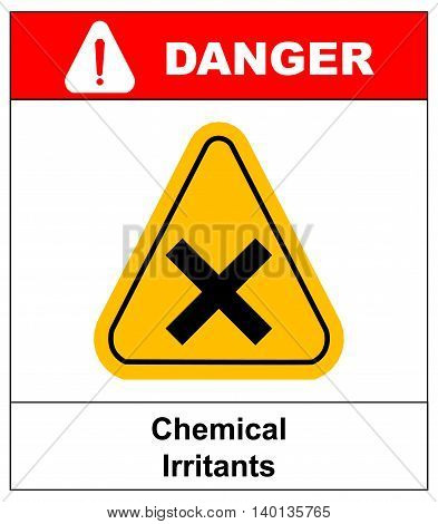 vector irritant sign in yellow triangle. danger banner with text chemical irritants.