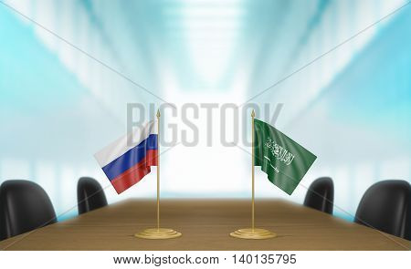 Russia and Saudi Arabia relations and trade deal talks, 3D rendering