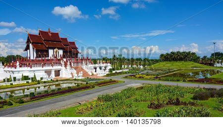 Chiang Mai, Thailand - July 22, 2016: Wide view of the grounds and pavilion at the Thai Royal Park Rajapruek.
