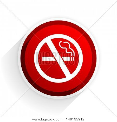 no smoking flat icon with shadow on white background, red modern design web element