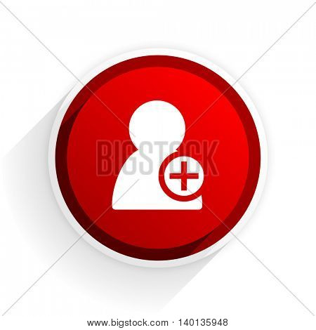 add contact flat icon with shadow on white background, red modern design web element