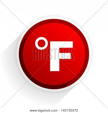 fahrenheit flat icon with shadow on white background, red modern design web element