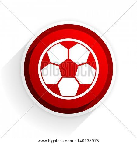 soccer flat icon with shadow on white background, red modern design web element