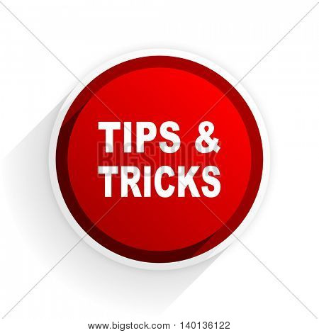 tips tricks flat icon with shadow on white background, red modern design web element