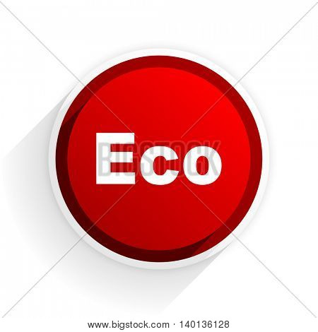 eco flat icon with shadow on white background, red modern design web element