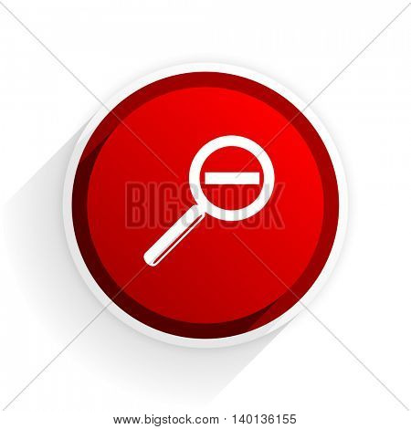 lens flat icon with shadow on white background, red modern design web element