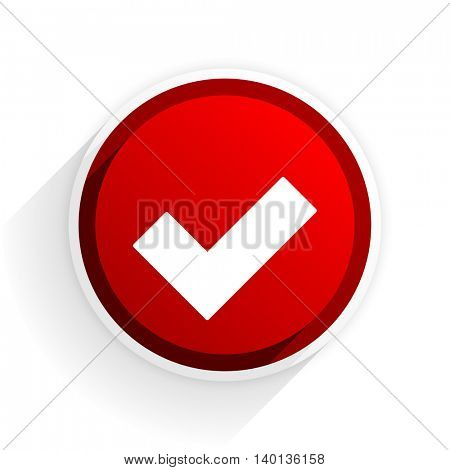 accept flat icon with shadow on white background, red modern design web element