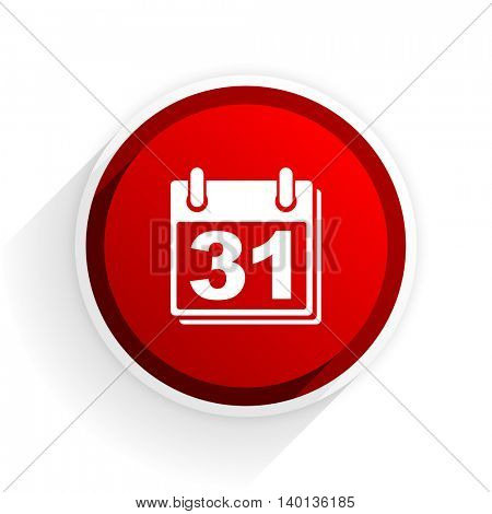 calendar flat icon with shadow on white background, red modern design web element