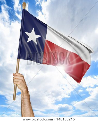 Person's hand holding the Texas state flag and waving it in the sky, part 3D rendering