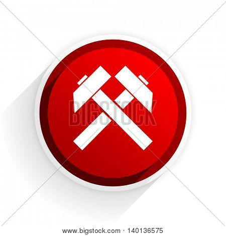 mining flat icon with shadow on white background, red modern design web element