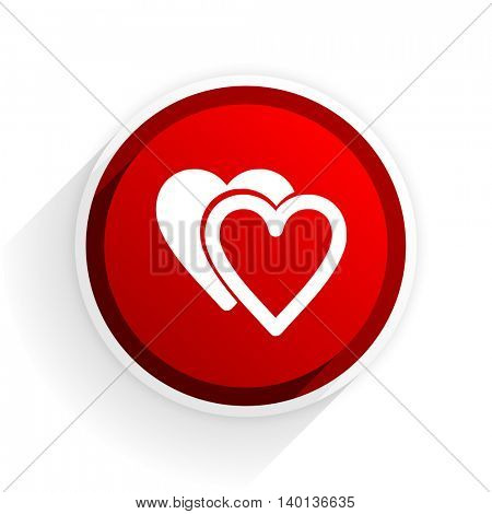 love flat icon with shadow on white background, red modern design web element