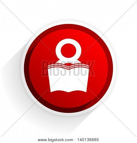 book flat icon with shadow on white background, red modern design web element