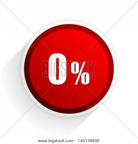 0 percent flat icon with shadow on white background, red modern design web element