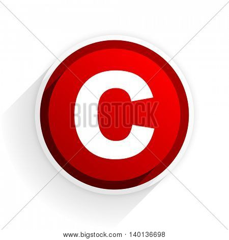 copyright flat icon with shadow on white background, red modern design web element