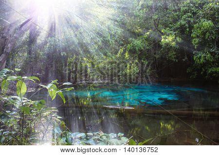 Blue lagoon, the Peninsula of Krabi, Thailand, Asia