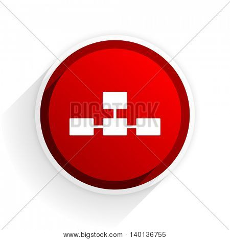 database flat icon with shadow on white background, red modern design web element